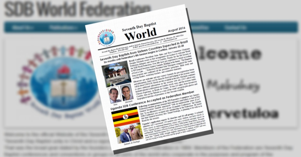 Thumbnail for the post titled: SDB World Federation Newsletter for August 2016 now available