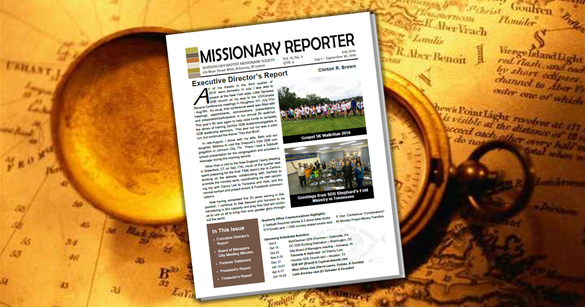 Thumbnail for the post titled: Missionary Reporter 2016 3rd Quarter