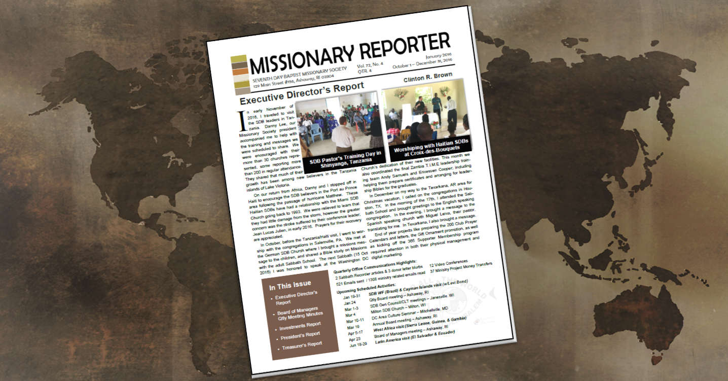 Thumbnail for the post titled: Missionary Reporter 2016 4th Quarter