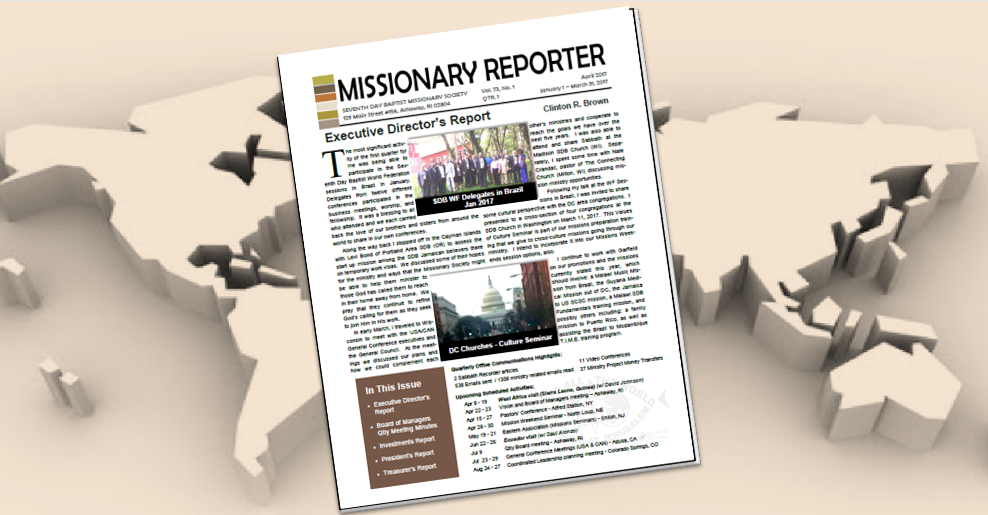Thumbnail for the post titled: Missionary Reporter 2017 1st Quarter