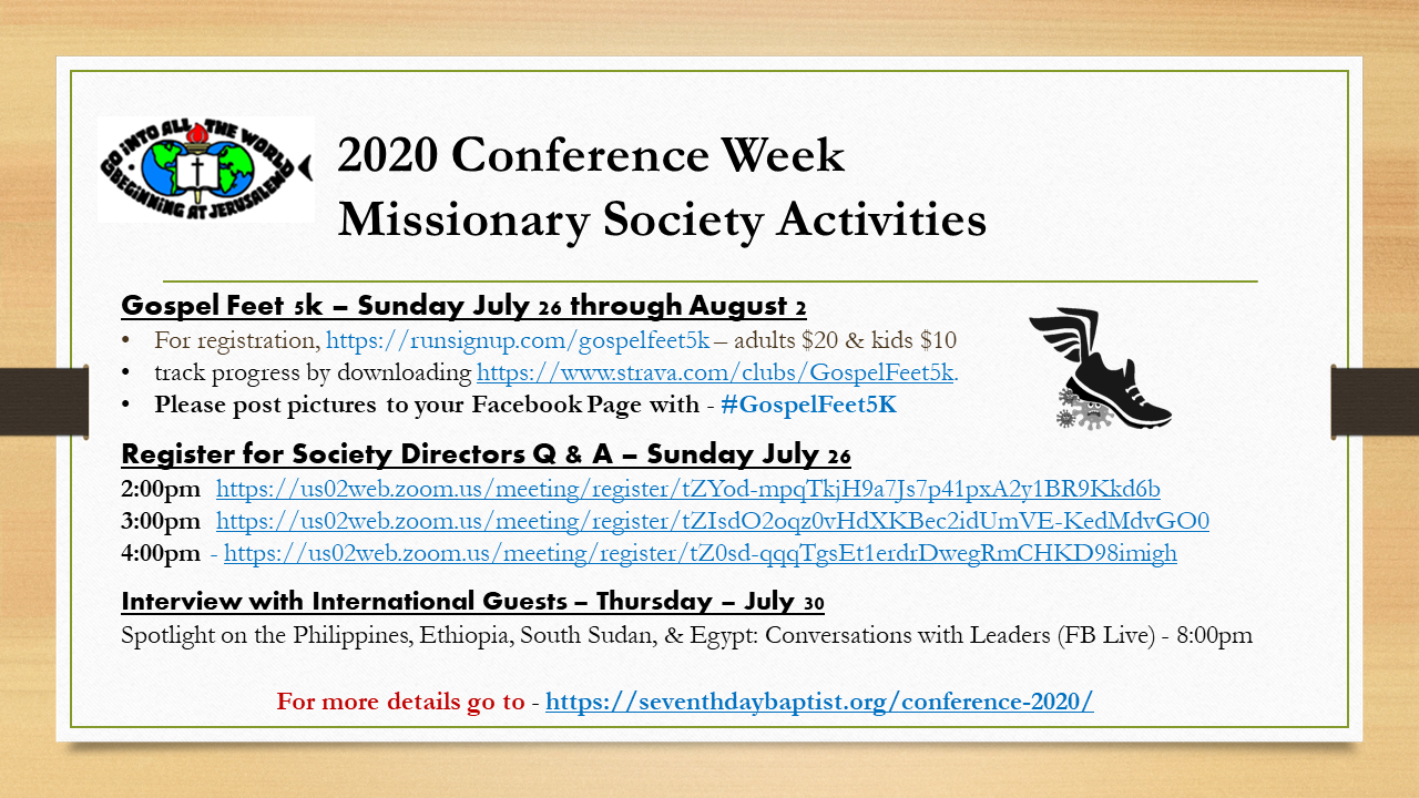 Thumbnail for the post titled: 2020 Conference Week  Missionary Society Activities